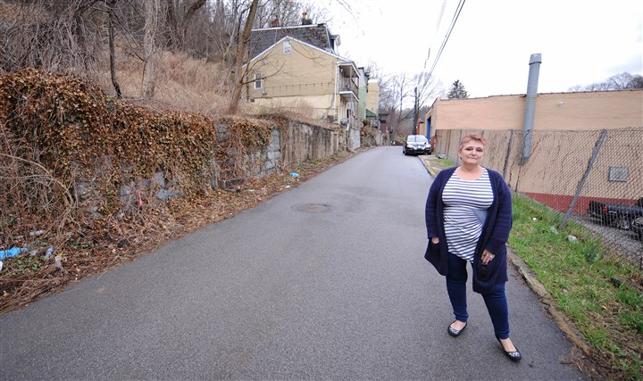 20140411CMLandPurchasingLocal001 Sue Kasunick stands on the street between her family business, Kasunick Welding & Fabricating, and abandoned lots that her and her husband attempted and failed to purchase from the city. The Kasunicks were able to purchase adjacent lots, but were not permitted by the city to buy several others for reasons they do not know.