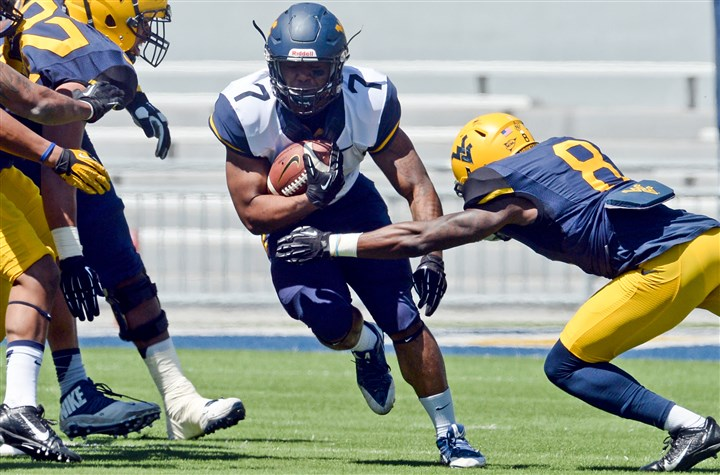 Rushel Shell West Virginia's Gold-Blue game  Rushel Shell eyes a hole in West Virginia's Gold-Blue game Saturday — his first action since transferring from Pitt before the 2013 season. He carried eight times for 37 yards.