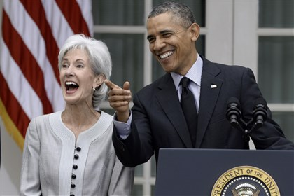Sebeliusdailey0414 Health and Human Services Secretary Kathleen Sebelius bids farewell on Friday.