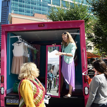 Vintage Valet fashion truck Vintage Valet fashion truck owner Marissa Zimmerman holds the mirror for a customer last year.