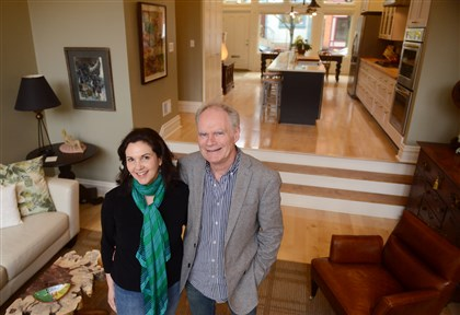 20140404MWHrenovationMag01 Leslie Vincen and Dan Wintermantel in the living room of their Mexican War Streets home.