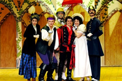 "2014KellyQVHS0414 Left to right: Mia Fox as Ruth, Peter Heres as the Pirate King, KJ Devlin as Major-General Stanley, Patrick Hughes as Frederick, Katie Manuel as Mabel and Nicholas Medich as the Police Chief in ""Pirates of Penzance"" in Quaker Valley High School's 2014 spring musical."