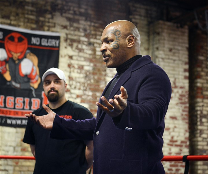 Tyson22 Mike Tyson speaks to a group of Wounded Warriors at the Wolfpack Boxing Club in Carnegie. He talked openly about his life experiences and his admiration for American soldiers.
