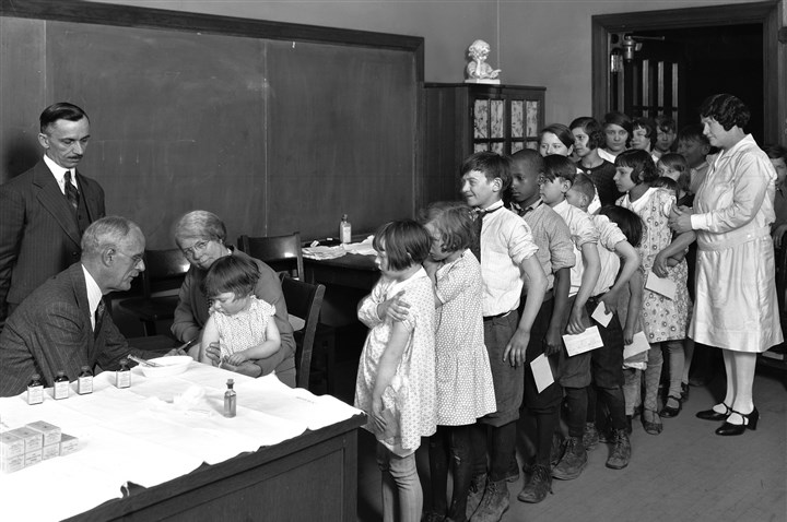 Historical image: Allegheny County children get inoculations Inoculations and new types of antibiotics represented major advancements in public health. Here, children are in line to receive diphtheria inoculations from Allegheny County's Division of Health in 1930.