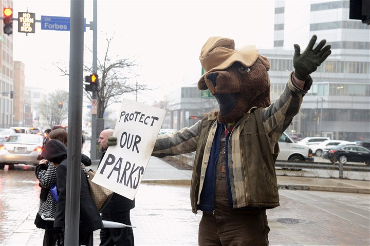 20140415bwDrillLocal01 Matt Peters of Hazelwood protests against park drilling Tuesday in his bear outfit on Grant Street, Downtown.