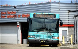 A Port Authority bus sits at the Ross garage.