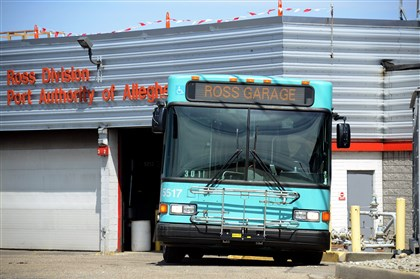 20140422lfGarage A Port Authority bus sits at the Ross garage in Ross Township.