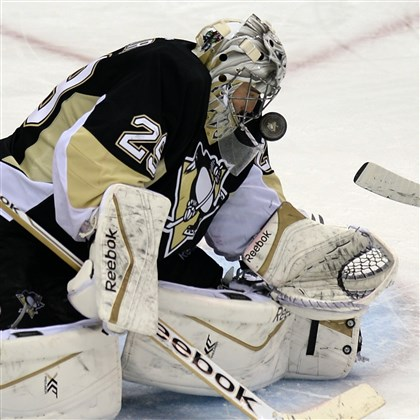 fleury0418 Penguins goalie Marc-Andre Fleury weathered the storm after a shaky start Wednesday night, and he must continue to stay poised the rest of the way.