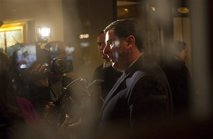 Mayor Bill Peduto speaks to reporters Mayor Bill Peduto speaks to reporters after making his first public address at the Pittsburgh Promise Career Launch workshop in Downtown on Jan. 7.