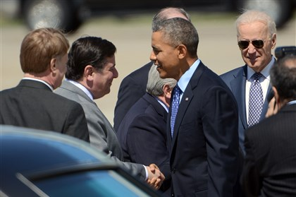20140416 Obama arrival with local politicians President Barack Obama greets Pittsburgh Mayor Bill Peduto and Allegheny County Executive Rich Fitzgerald after arriving at the 171st Air Refueling Wing in Moon. Vice President Joe Biden is at right.
