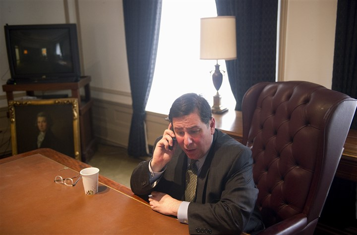 Mr. Peduto speaks with Gov. Tom Corbett  Mr. Peduto speaks with Gov. Tom Corbett on his first day in office on Jan. 7.