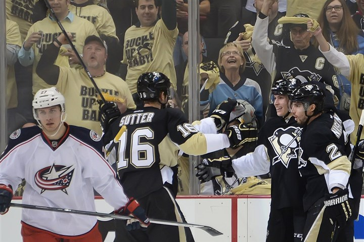20140414pdPenguinsSports06 The Penguins' Beau Bennett celebrates his goal in the second period against the Blue Jackets at Consol Energy Center.