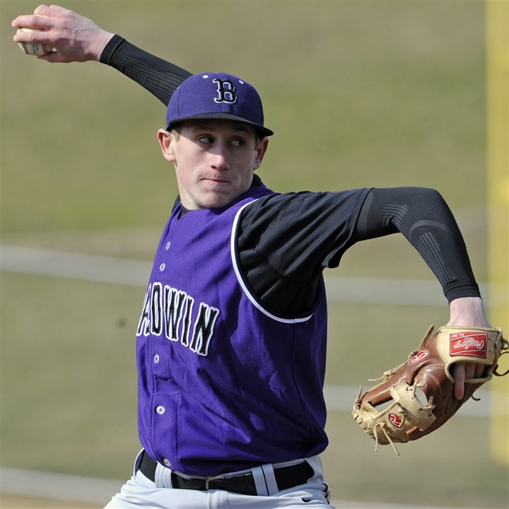 9e200kko.jpg Senior Nick Bernick provides a reliable and experienced right arm for the Baldwin Highlanders pitching staff.