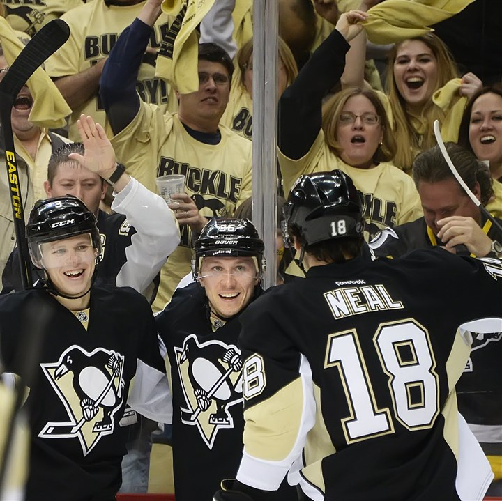 jokinen0430 Penguins winger Jussi Jokinen, center, scored winning goals in two of the four games against the Blue Jackets.