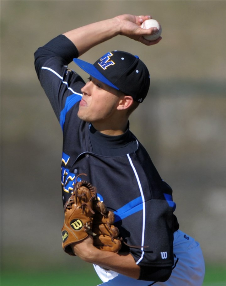 hshigh2 West Mifflin's starting pitcher Zachary Salmon delivers during their game against Belle Vernon.