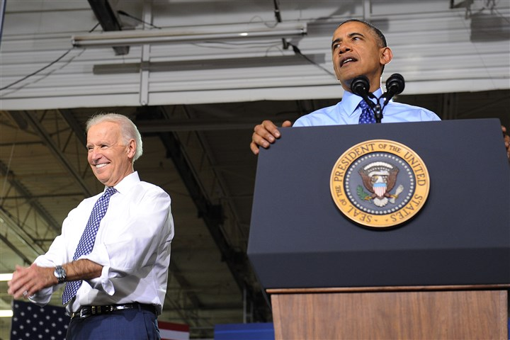 20140416jrObamaLocal9-6 Vice President Joe Biden listens while President Barack Obama delivers a speech Wednesday at CCAC West Hills Center.