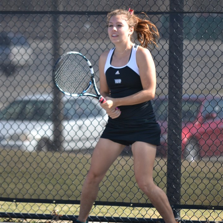20140410hotimko2zportsblurr.jpg Tanya Timko, a graduate of Chartiers-Houston High School, is a standout tennis player for Indiana University of Pennsylvania.