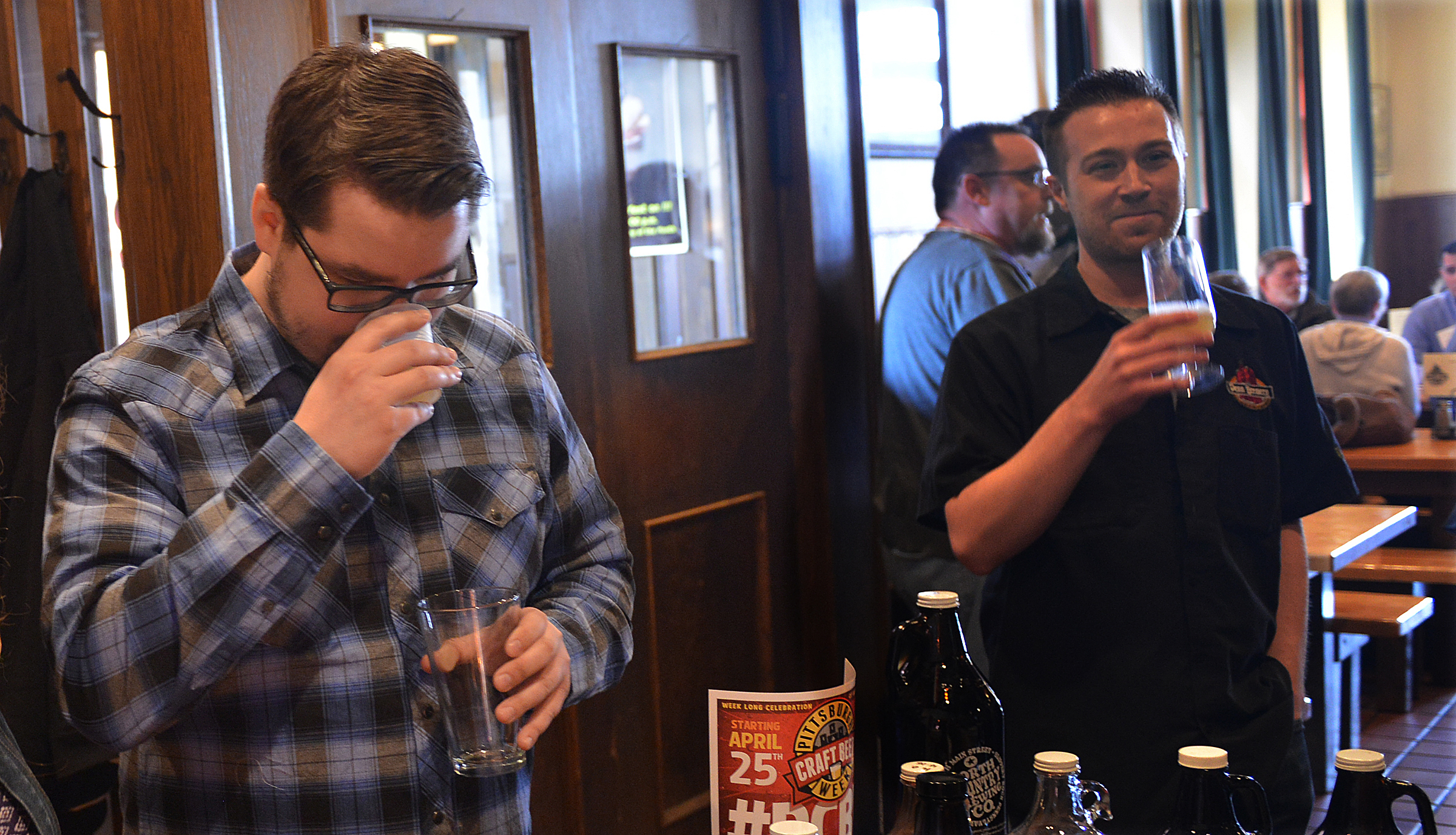 20140416lrcraftbeerlocal08-4 Andy Kwiatkowski, head brewer at Hitchhiker Brewing Co. of Mt. Lebanon, inhales deeply as he tries a small glass of a collaborative brew made by East End Brewing Company and Lavery Brewery Co. , of Erie.