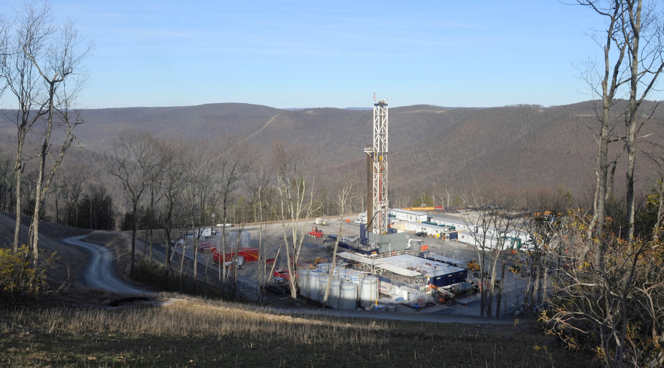 20140416PIpowerSHALE0422biz A well-site for Seneca Resources, Inc., the exploration and production segment of National Fuel Gas Company, of Houston, TX sits in the Loyalsock State Forest in Lycoming County. Ten wells are being drilled at this pad situated on Hagerman Mountain.