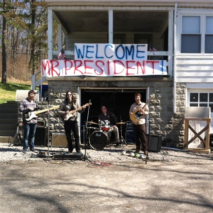 20140417bandObama Comfort Tech outside their Oakdale home welcoming President Barack Obama with music Wednesday.