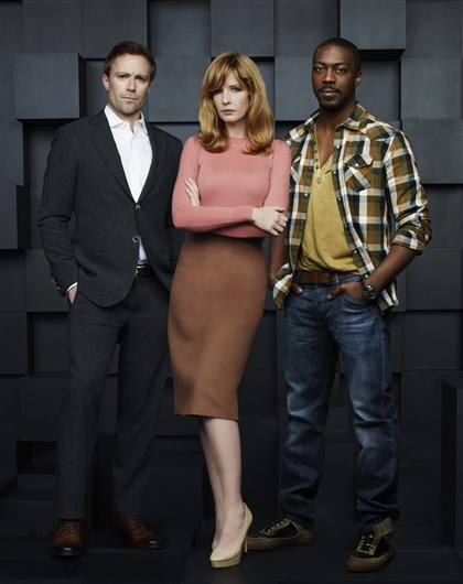 "20140424HOBox2-1 ABC's Black Box"" stars Ditch Davey as Dr. Ian Bickman, Kelly Reilly as Catherine Black and David Ajala as Will Van Renseller."
