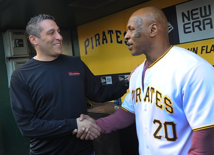Ralph Blundo and Mike Tyson Ralph Blundo, coach of undefeated WPIAL and PIAA boys basketball champion New Castle, meets former world heavyweight boxing champion Mike Tyson before the Pirates-Brewers game Thursday at PNC Park.