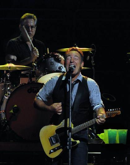 2014springsteen2winebergma Bruce Springsteen performs at Consol Energy Center with the E Street Band, with Max Weinberg on drums, during the Wrecking Ball Tour in October 2012.