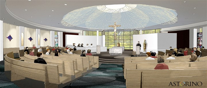20140418howuerlchapelintmag A rendering by the architect firm of Astorino of the chapel interior at Cardinal Wuerl North Catholic High School in Cranberry.