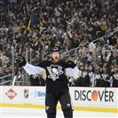 Paul Martin celebrates his assist on playoff goal against Columbus at the Consol Energy Center in April.