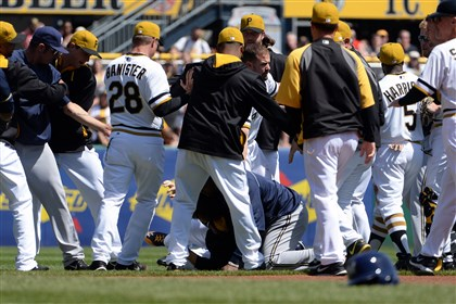 Pirates Brewers Brawl 20 April 2014 Pirates and Brewers players clear the benches in the third inning Sunday at PNC Park.