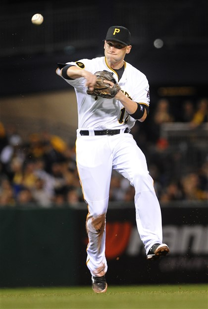 20140419jrBarmesfileSports Clint Barmes fields a ball Saturday, April 19 against the Milwaukee Brewers at PNC Park.