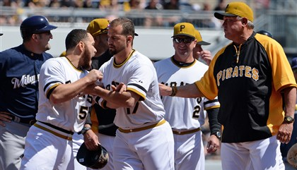 Pirates Brewers Brawl April 20, 2014  Pirates' Russell Martin is held back by Gaby Sanchez after the benches cleared in the third inning Sunday at PNC Park.