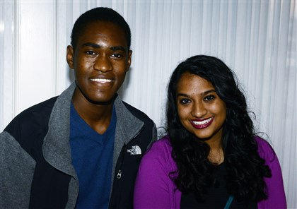 20140418bwYaleSeen06 Tevin Mickens, left, and Naoka Gundwardena, both high schoolers accepted into Yale.