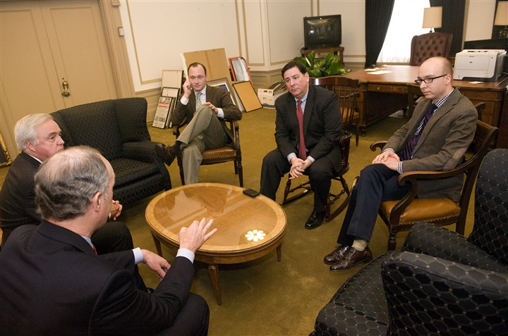 Mayor Bill Peduto and U.S. Sen. Bob Casey Mayor Bill Peduto, second from right, meets with U.S. Sen. Bob Casey, D-Pa., with back toward camera, in January in the mayor's office.