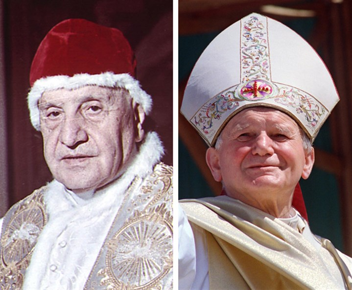 Pope John XXIII and Pope John Paul II Pope John XXIII, left, wearing a red velvet camauro cap for a picture in 1963, and Pope John Paul II, pictured during a tour of Africa in 1989, will be canonized next Sunday.