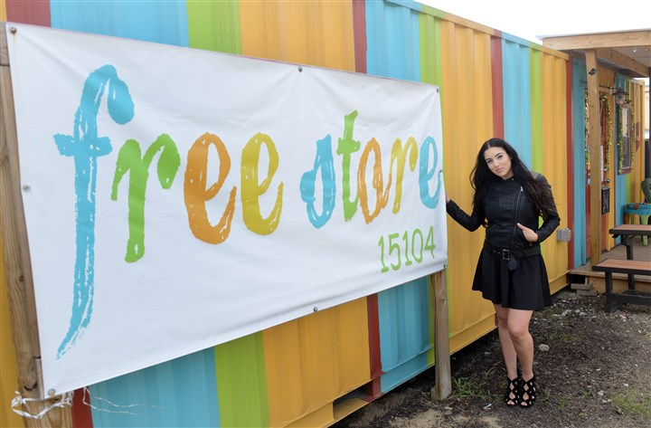 Gisele Fetterman Gisele Fetterman poses for a portrait outside of Free Store, which she created in Braddock to help those in need receive new or gently used donated items. #SEENInspiring