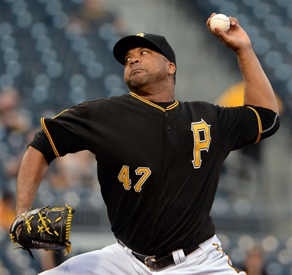 20140421mfbucssports02-1 Pirates' Francisco Liriano pitches against the Reds April 21 at PNC Park.