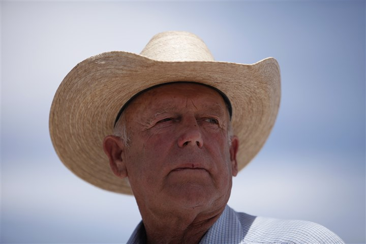 Range Showdown Rancher Cliven Bundy speaks at a protest area near Bunkerville, Nev., on April 16.