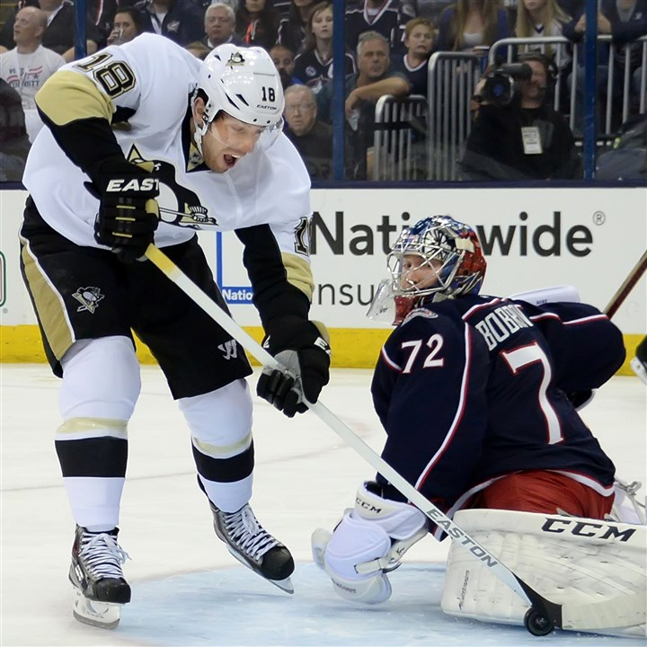 20140421pdPenguinsSports01-4 Columbus goalie Sergei Bobrovsky denies James Neal Monday. But the fact that the Penguins were aggressive and put pressure on Bobrovsky, including holding a 41-20 advantage in shots, ultimately paid off.