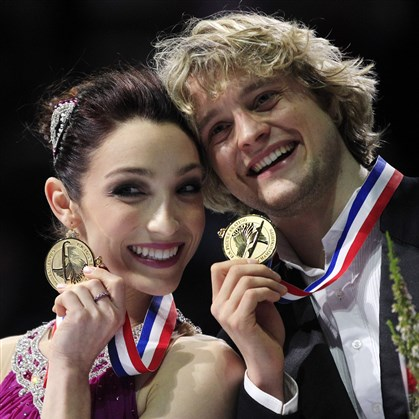 daviswhite0423 Charlie White, right, and Meryl Davis pose with their medals after winning the ice dancing event at the U.S. Figure Skating Championships in San Jose, Calif., in 2012.
