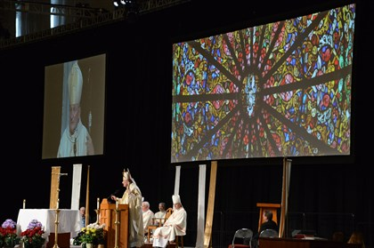 "20140422dsWuerlLocal07 Bishop David Zubik, Archdiocese of Pittsburgh, delivers the ""Homily"" at The National Catholic Education Convention held at the David L. Lawrence Convention Center."