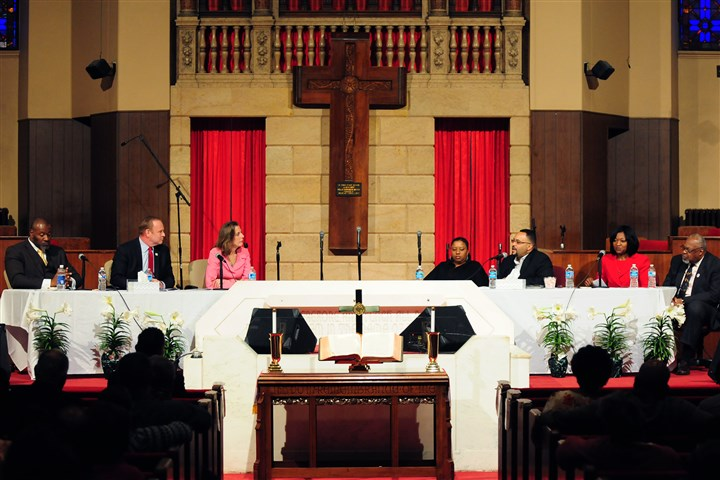 20140422GovDebateLocal002-1 Democratic gubernatorial candidates listen to a question posed by a panel during a debate at the Central Baptist Church in the Hill District.