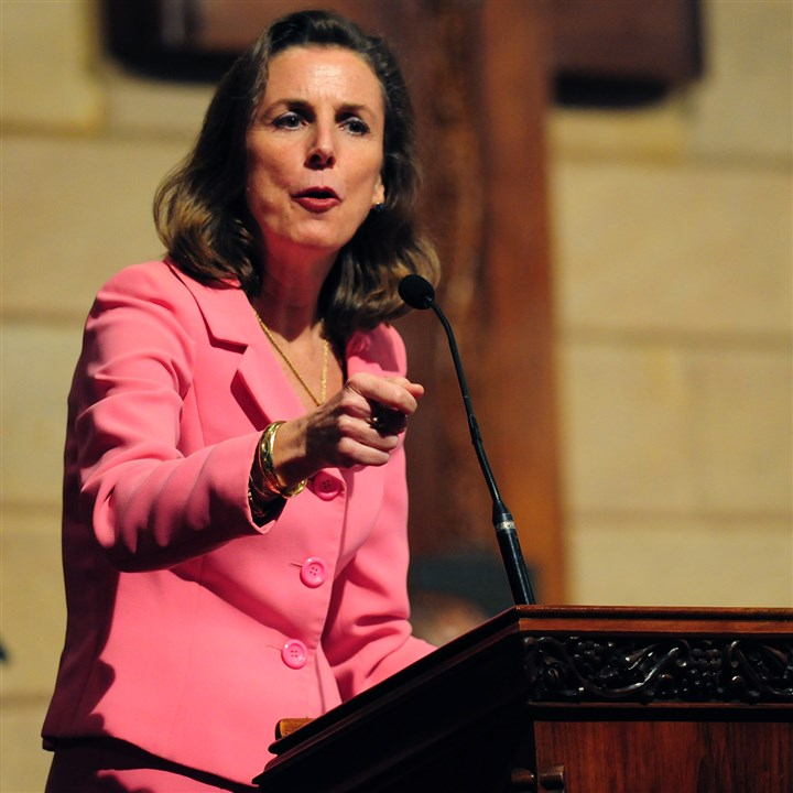 Katie McGinty Democratic gubernatorial candidate Katie McGinty addresses a crowd at the Central Baptist Church in the Hill District during a debate Tuesday night that included one of her opponents, state Treasurer Rob McCord, and a representative for candidate Tom Wolf.