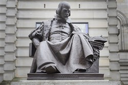 A statue of William Shakespeare outside Carnegie Music Hall in Oakland. Pittsburgh Shakespeare in the Parks' will kick off the Week of Will there at 1:30 p.m. Saturday.