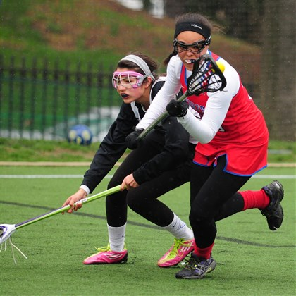 20140415CMChartiersLAXSport.2.jpg Chartiers Valley midfielder ShyAnne Toomer protects the ball from Winchester Thurston defender Maria Lagnese during the Colts' victory against the Bears last week.