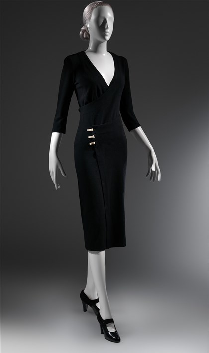 "2014wrapdress0428eseen The black wool ribbed knit ""Taxi"" dress, ca. 1932, by designer Charles James."