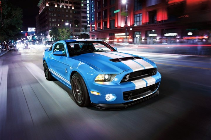 "2014 Mustang GT500 Decked out in ""Grabber Blue,"" the 2014 Mustang GT500 roars down the road in Detroit"