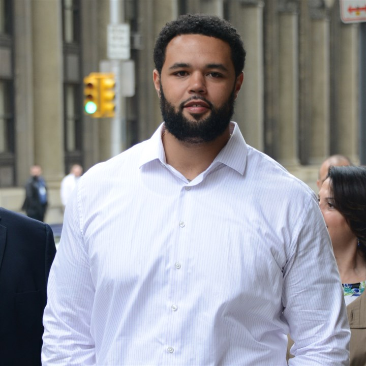 Steelers player Mike Adams Mike Adams arrives at the Allegheny County Courthouse for his trial.
