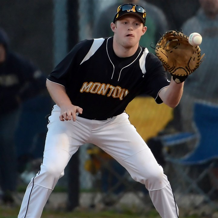 20140417mfmontoursports07.jpg Senior first baseman Kyle Kutchman has provided a steady hand in the field and veteran leadership for the Montour Spartans this season.