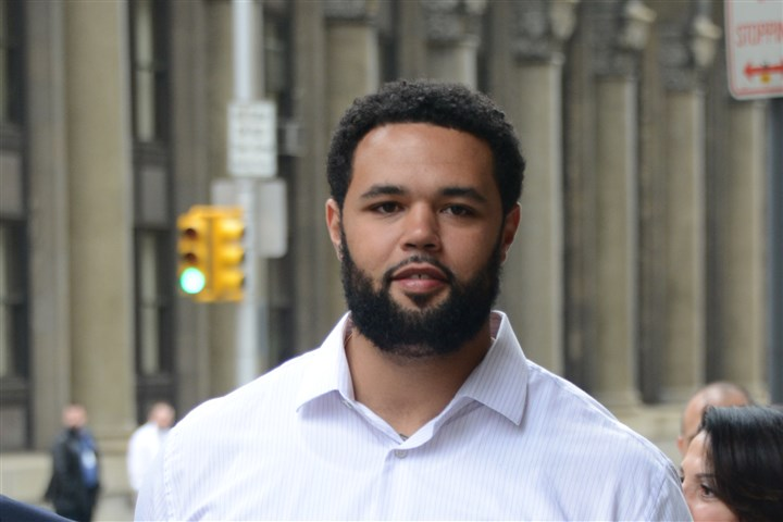 Steelers lineman Mike Adams Steelers lineman Mike Adams arrives at the Allegheny County Courthouse for his trial.